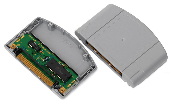 The interior circuit board of an N64 cartridge