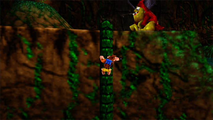 Climbing up a vine in Gruntilda's Lair in Banjo-Kazooie Xbox One version