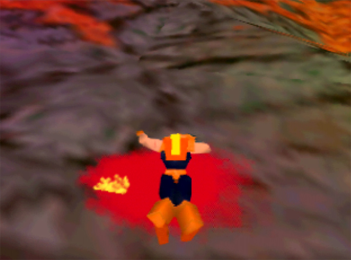 Adam Drake lies in a pool of his own blood after coming to a gruesome end in Body Harvest for N64.
