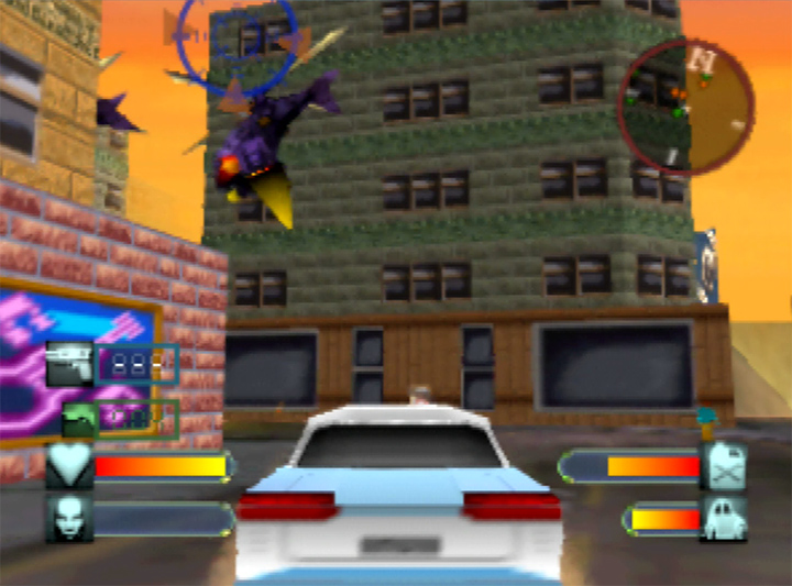 Driving around the America 1966 stage in a Cadillac in Body Harvest for N64.