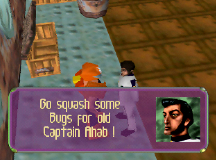 Captain Ahab orders Adam Drake to take the fight to the enemy in Body Harvest for N64.