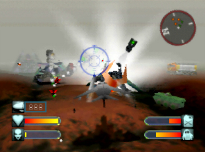 Using a fighter jet against an alien processor in Body Harvest for N64.