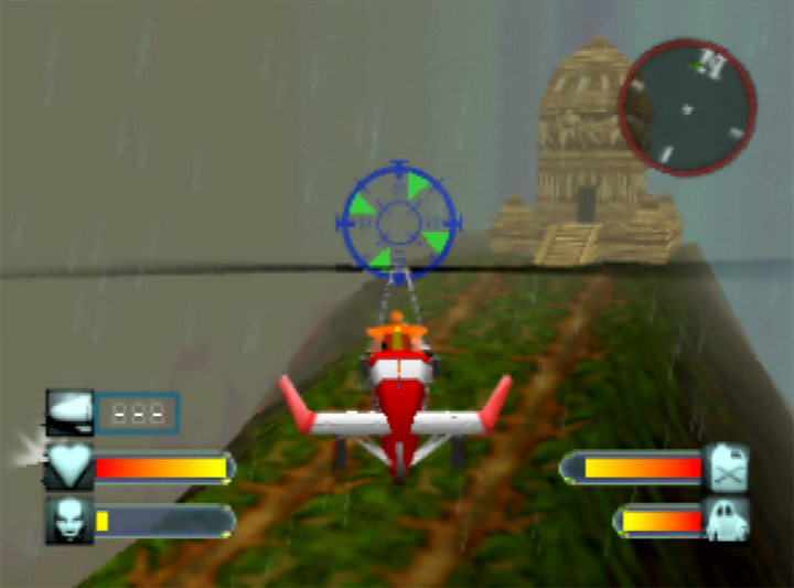 Flying towards a temple in Body Harvest's Java stage (Nintendo 64 game)