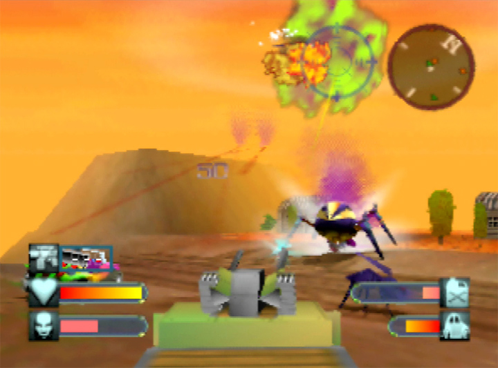 Gunning down aliens in the Humvee in Body Harvest's America stage (N64)