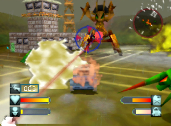 Taking a lot of incoming fire in the Lubelwagen in Body Harvest for N64.