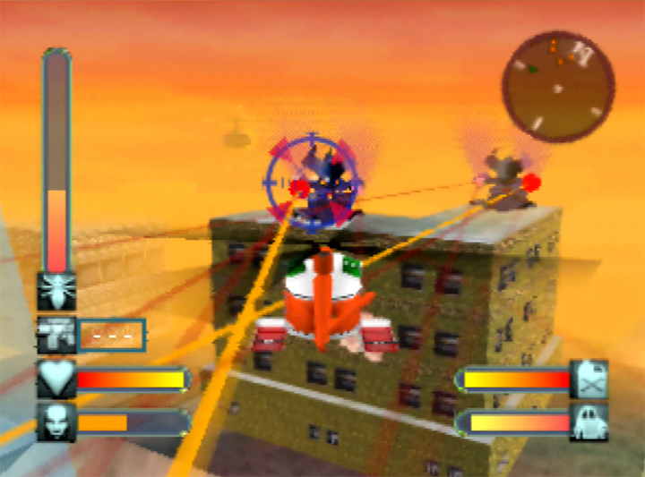 Flying a helicopter in Body Harvest for N64.
