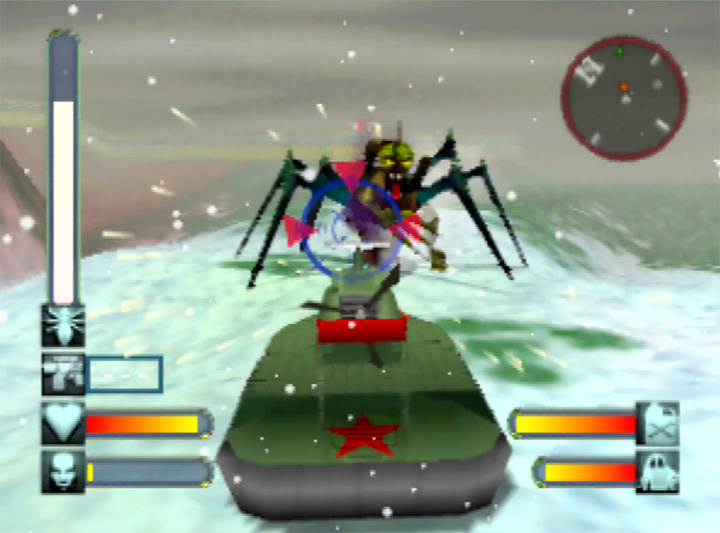 Mutant-human hybrid attack in Body Harvest's Siberia level for N64.
