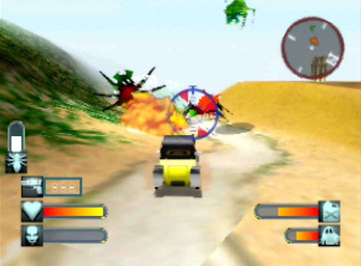 Taking the bugs head on in a saloon car in Body Harvest for N64.