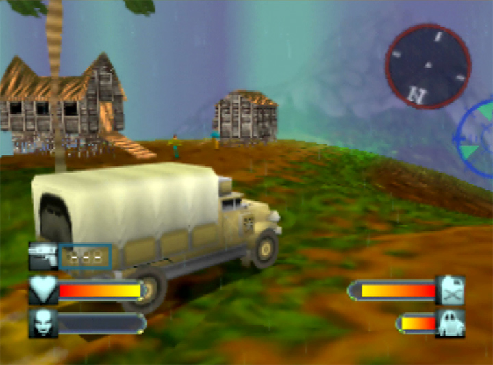 A shield wall blocks the path in Body Harvest's Java area (N64)