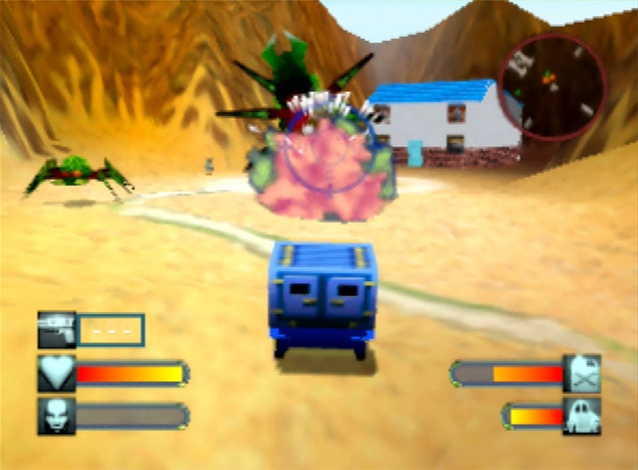Shooting a bug in the face in Body Harvest for N64.