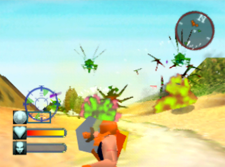 Adam wipes out a group of alien bugs using the Sun Shield in Body Harvest for N64.
