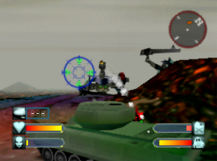 Using a tank to battle aliens in Body Harvest for N64.