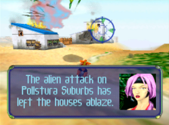 Greece's Pollstura Suburbs ablaze after an alien attack in Body Harvest for N64.