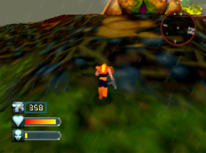 Traversing awkward terrain in Body Harvest's Java stage (N64).