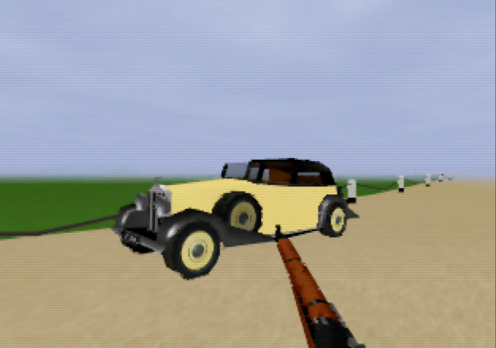 Auric Goldfinger's gold car, recreated digitally for Goldfinger 64, an N64 total game conversion of GoldenEye 007.