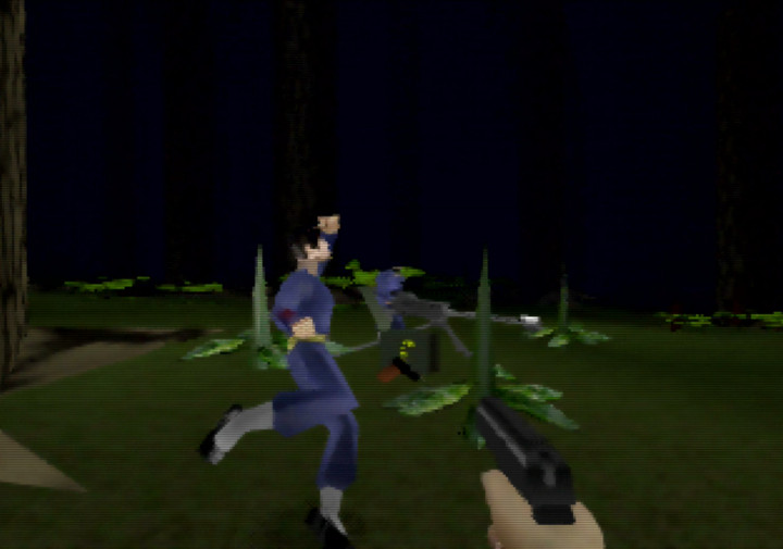 Shooting guards while fleeing in Goldfinger 64's Forest mission