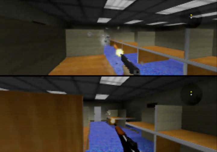 A two-player multiplayer match in Goldfinger 64 for N64