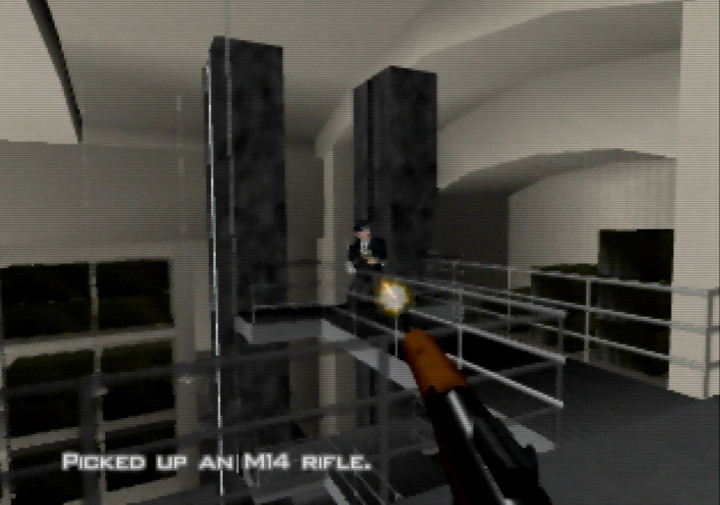 Fighting Oddjob inside Fort Knox's vault in Goldfinger 64