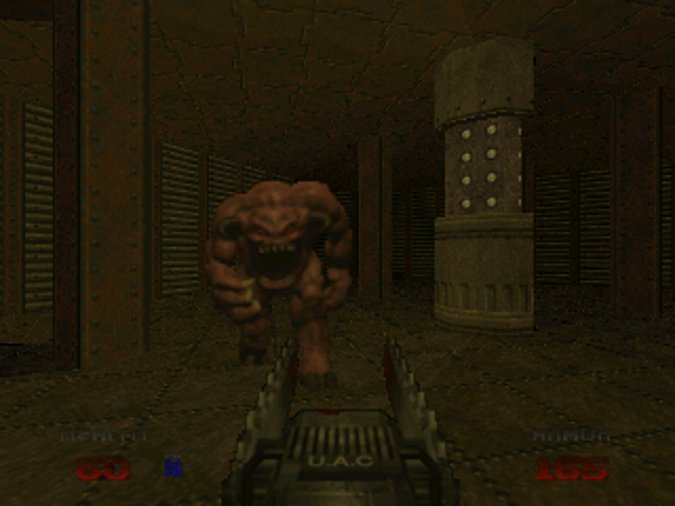 Using the chainsaw in Doom 64