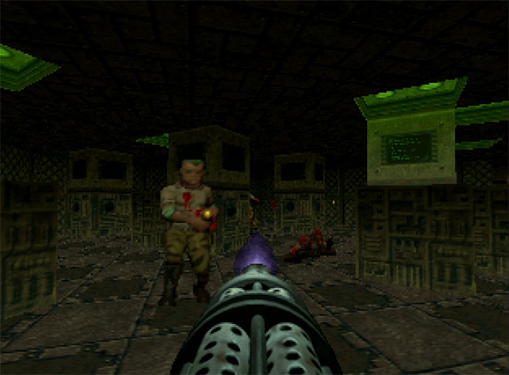Using the chaingun in Doom 64 - an underrated N64 game.