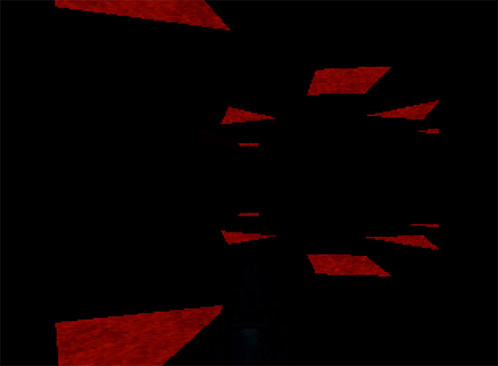 A dark environment in Doom 64 for Nintendo 64.