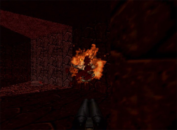 Using the double-barrelled shotgun in Doom 64 for N64.