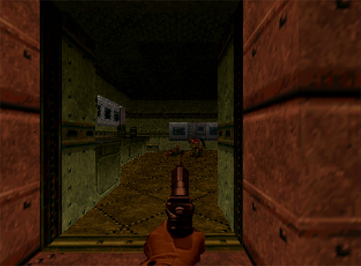 Using the pistol against Zombiemen in Doom 64 for Nintendo 64.