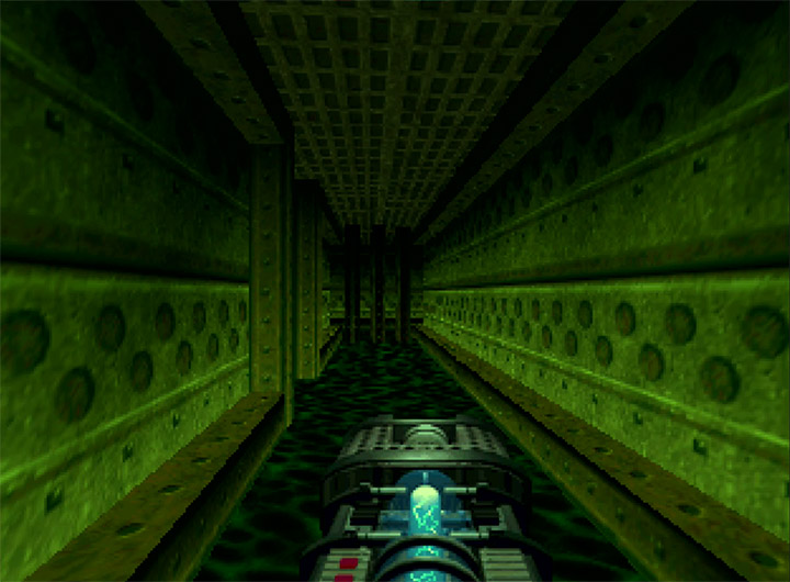 Running through a sewer of radioactive waste in Doom 64 for Nintendo 64.