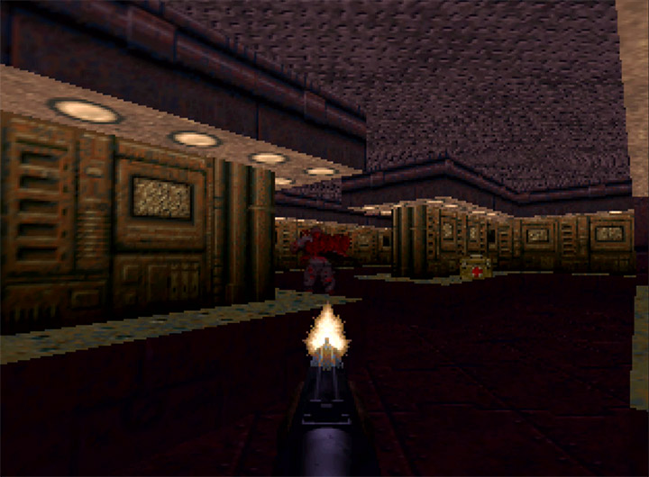 Blasting a Zombieman with the shotgun in Doom 64 for N64.