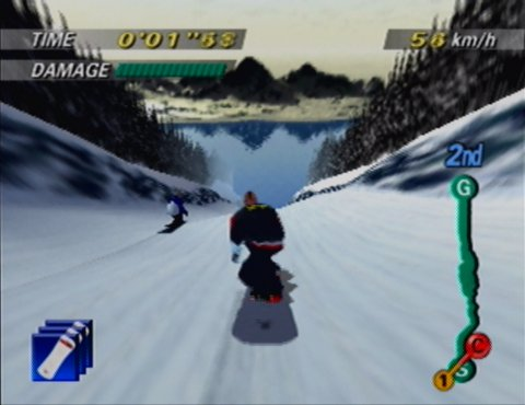 Raising down a slope in 1080 Snowboarding's Crystal Lake track on Nintendo 64