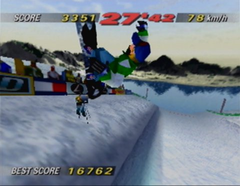 Performing a jump trick off a half-pipe in 1080 Snowboarding for N64