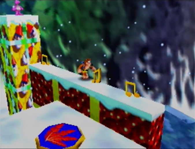 Collecting musical notes on top of wrapped presents in Banjo-Kazooie's Freezeezy Peak (Nintendo 64)