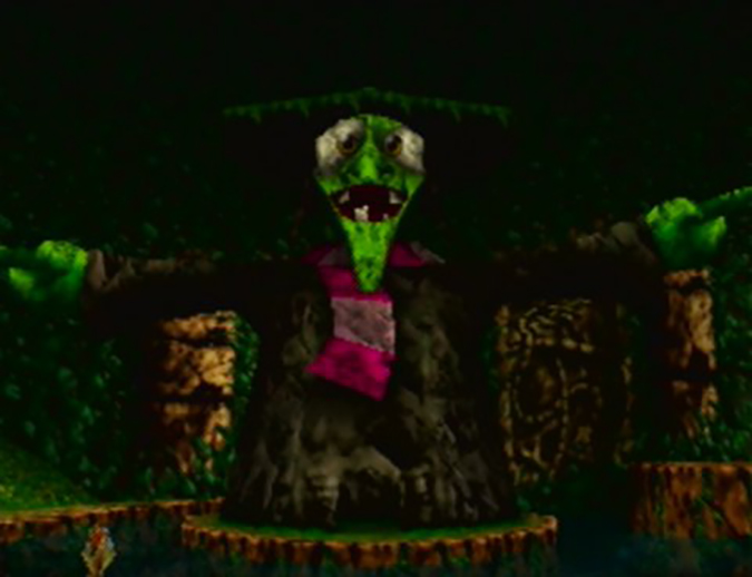 Giant statue of the witch Gruntilda in Banjo-Kazooie for N64.