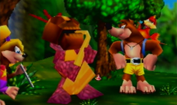 Banjo, Kazooie and Mumbo in Banjo-Kazooie's musical intro cinematic (N64)