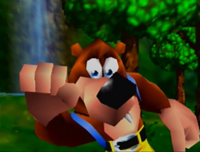 Banjo knocking on the screen in Banjo-Kazooie's opening cinematic on Nintendo 64.