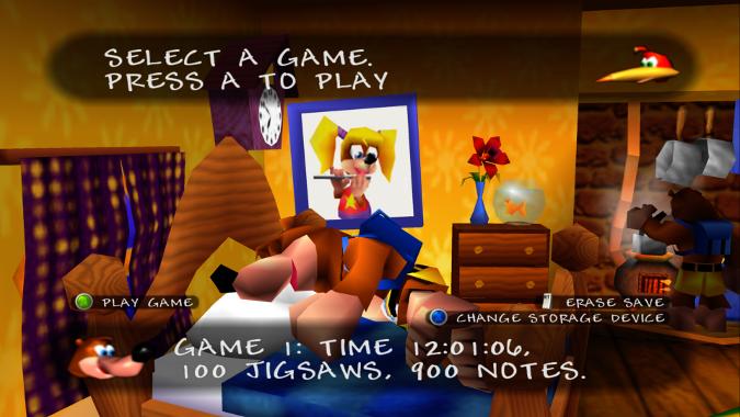 Banjo-Kazooie Xbox 360 version game file select screen
