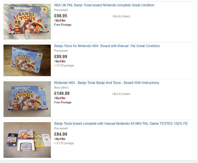 An eBay search listing for Banjo-Tooie
