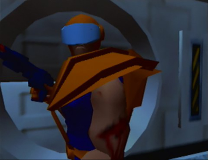 An injured Adam Drake flees the boarded space station in Body Harvest's intro cinematic (N64)