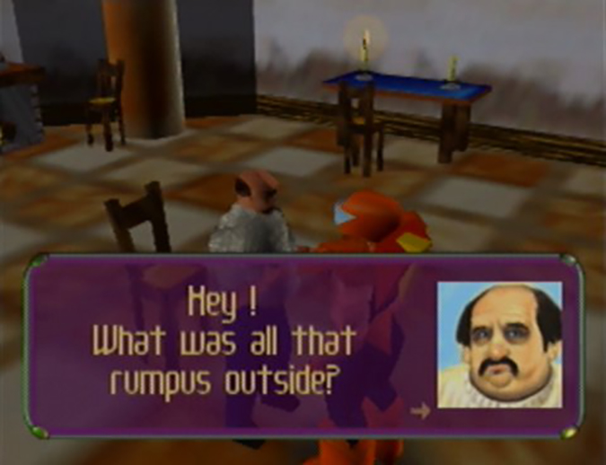 Talking to an NPC in Body Harvest for N64