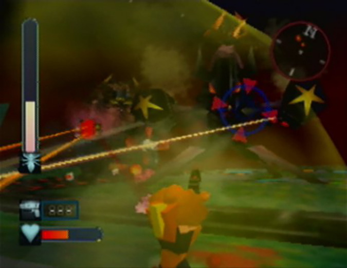 Fighting aliens on the Comet level in Body Harvest for N64