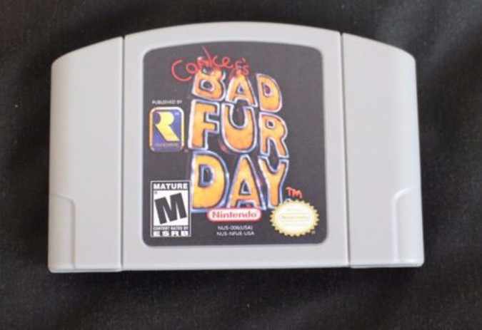 An N64 repro cartridge of Conker's Bad Fur Day