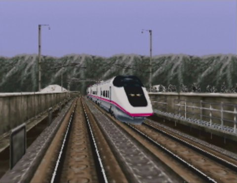 Densha de Go! 64 English Language patched version's intro cinematic showing the E3 Series train