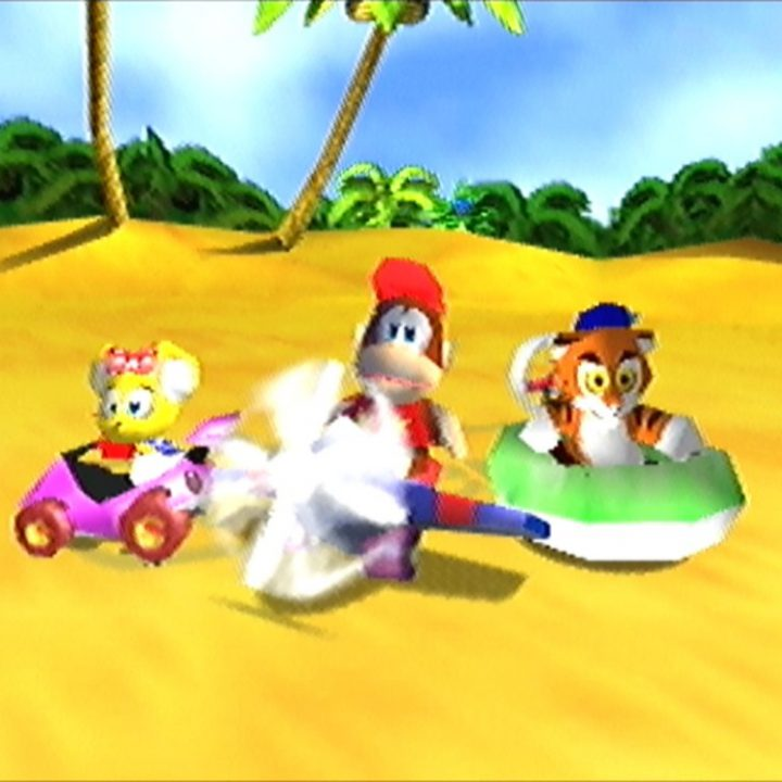 Diddy Kong, Pipsy and Timber in the Diddy Kong Racing N64 intro cinematic