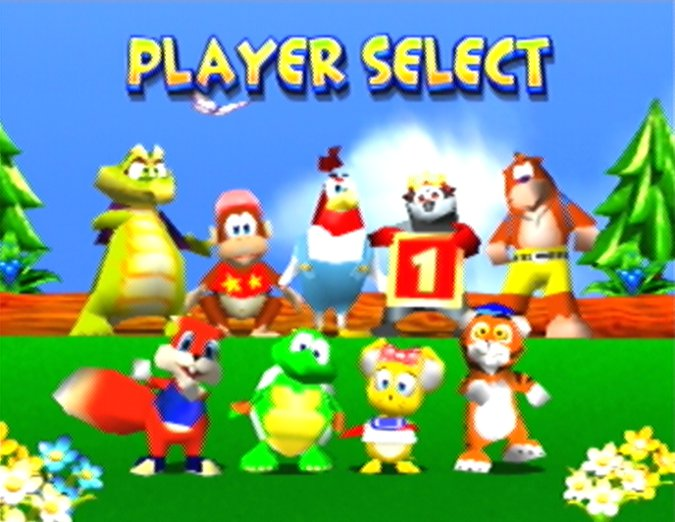 Diddy Kong Racing player select screen