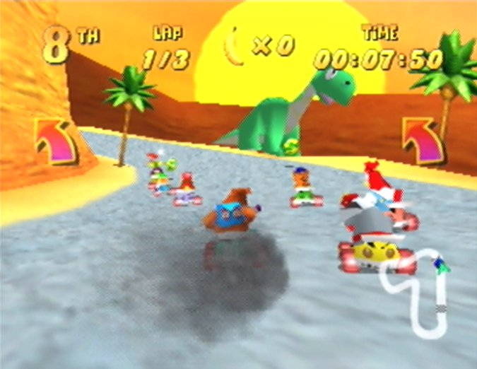 Banjo racing around Fossil Canyon track in Diddy Kong Racing for N64