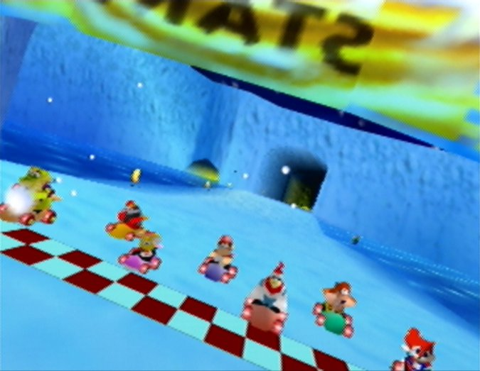 Frosty Village track in Diddy Kong Racing for N64.