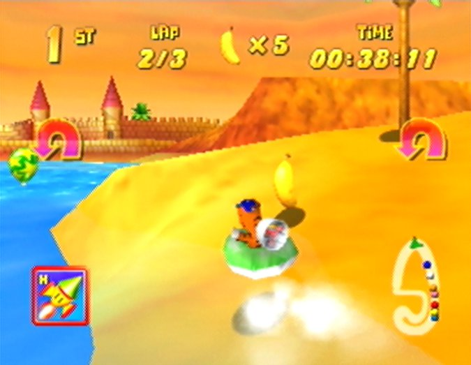 Timber in a hovercraft in Diddy Kong Racing's Pirate Lagoon track