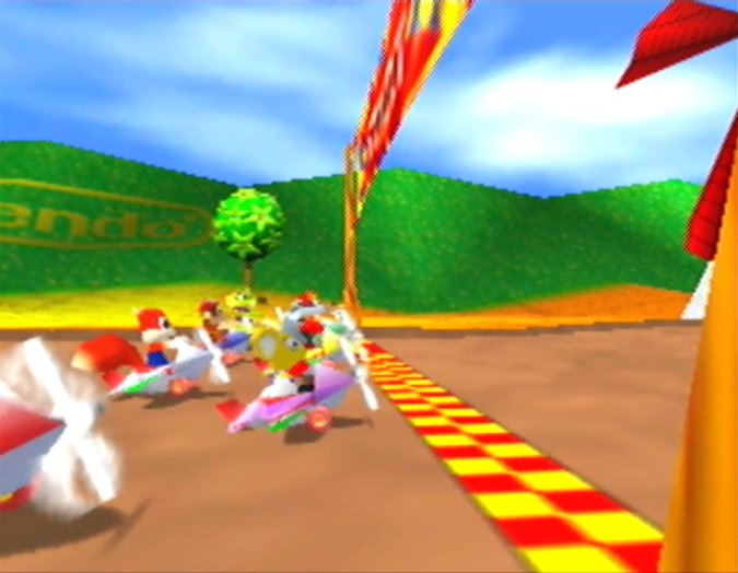 Windmill Plains starting line in Diddy Kong Racing