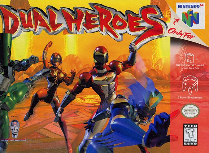Dual Heroes NTSC N64 box art cover