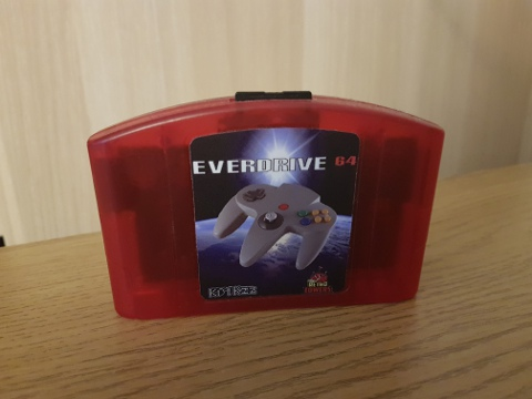 EverDrive 64 V3 transparent red cartridge